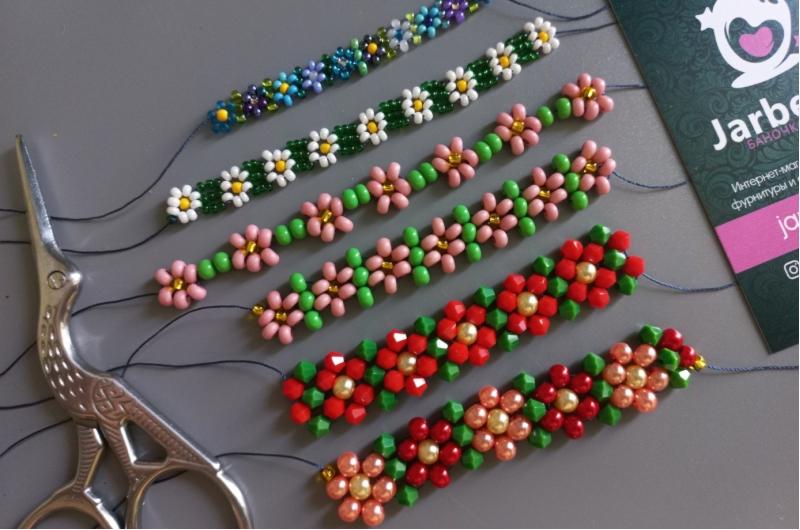 """Цепочка из бисера для начинающих: 3 варианта схем """"в цветочек"""""""