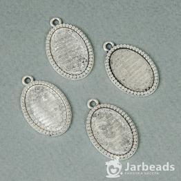 Сеттинг овальный 1,7*2,8см с кружочками для кабошона 14*20мм (серебро)