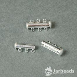 Замочек магнитный Трубочка 20мм 3 кольца (серебро хром)