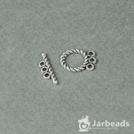 Замочек тоггл Три кольца крепления 16*12мм, планка 5*18мм (серебро)