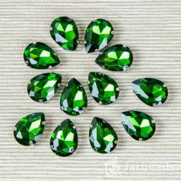 Страза каплевидная 10*14мм (лесная зелень)