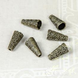 Колпачки литые Конусы с завитками вн.d.7мм (бронза) 2шт