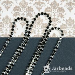 Стразовая цепочка серебряная 4мм ss16 (черный) отрезок 10см