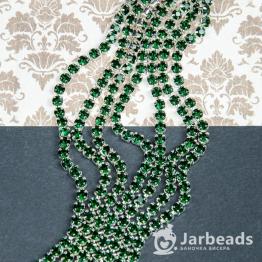 Стразовая цепочка серебряная 4мм ss16 (зеленый темный) отрезок 10см