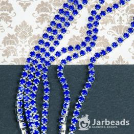 Стразовая цепочка серебряная 4мм ss16 (синий) отрезок 10см