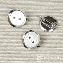 Основа для броши круглая чашеобразная 35мм (серебро)