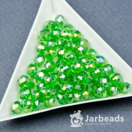 Кристаллы рондель 5*6мм зеленый прозрачный блестящий 10штук