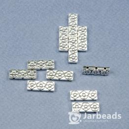 Разделители рядов для бусин Пластина с цветами 3 отверстя 6*17мм (серебро) 2штуки