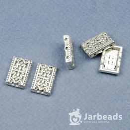 Разделители рядов для бусин Пластина с узором 3 отверстя 11*17мм (серебро) 2штуки