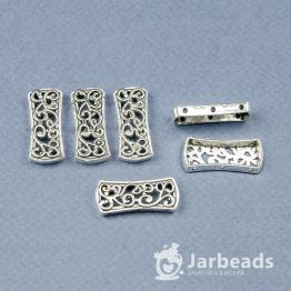 Разделители рядов для бусин Пластина с ажурным узором 3 отверстя 11*25мм (серебро) 2штуки