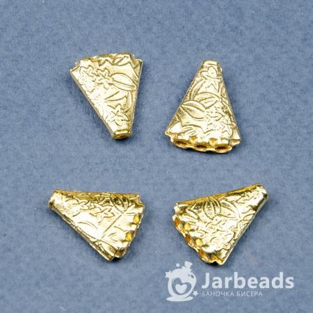 Разделители рядов для бусин Плоский треугольник 3 отверстия 14*16мм (золото) 2штуки