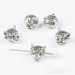 Бусина металлическая голова Леопарда 1,3*1,1см (серебро)