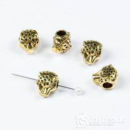 Бусина металлическая голова Леопарда 1,3*1,1см (золото)