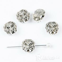 Бусина металлическая голова Льва 1,2*0,8см (серебро)