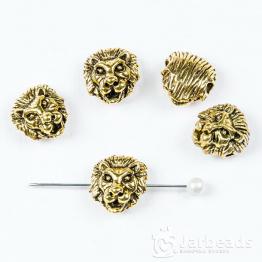 Бусина металлическая голова Льва 1,2*0,8см (золото)