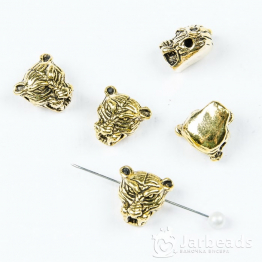 Бусина металлическая голова Тигра 1,4*0,8см (золото)