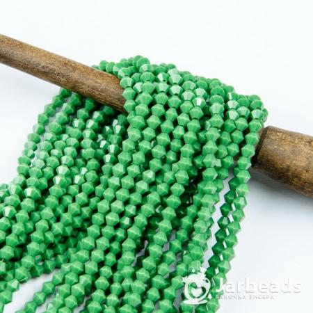 Бусины биконусы 4x4мм зеленый керамика 100шт 18