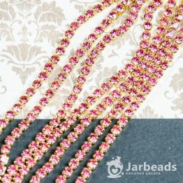 Стразовая цепочка золотая 2,8мм ss10 (розовый) отрезок 10см
