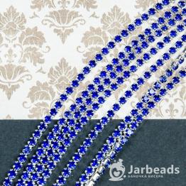 Стразовая цепочка серебряная 2,8мм ss10 (синий) отрезок 10см