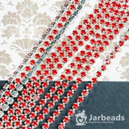 Стразовая цепочка серебряная 2,8мм ss10 (красный) отрезок 10см