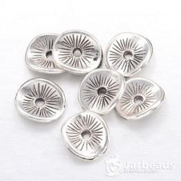 Разделители для бусин Диск с насечками 10*9мм (серебро) 10шт
