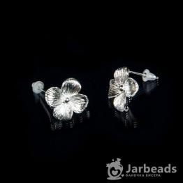 Швензы-гвоздики Четырехлистник 14*14мм (серебро хром)