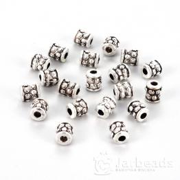 Разделители для бусин Цилиндр с точками 6*6мм (серебро) 10шт LF0331Y