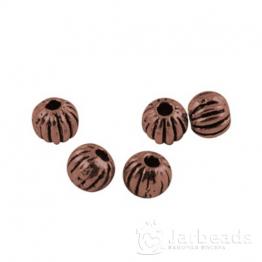 Разделители для бусин Полосатые шарики 3,5мм (медь) 10шт X-PALLOY-62-R-NR
