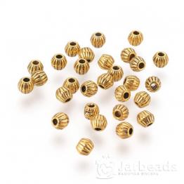 Разделители для бусин Полосатые шарики 4*4,5мм (золото) 10шт X-GLF0300Y