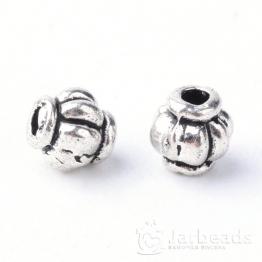 Разделители для бусин Бочонок с дольками 4мм (серебро) 10шт X-TIBE-Q063-55AS-NR