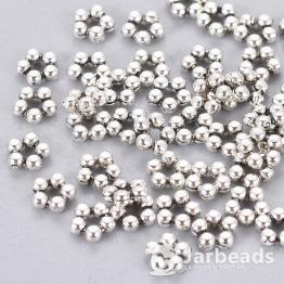 Разделители для бусин 5 шариков 4,5мм (серебро) 10шт X-K08XP042