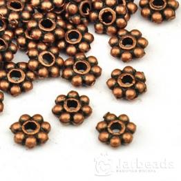 Разделители для бусин Диск 7 шариков 6мм (медь) 10шт X-K08JV062