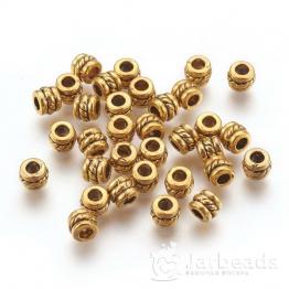 Разделители для бусин Бочонок с узором 4*5мм (золото) 10шт X-GLF0447Y