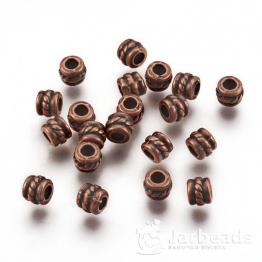 Разделители для бусин Бочонок с узором 4*5мм (медь) 10шт X-RLF0447Y