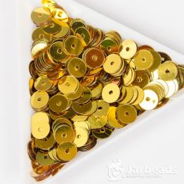 Пайетки круглые металлик 6мм (золото) 10гр