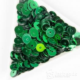 Пайетки круглые металлик 6мм (зеленый) 10гр