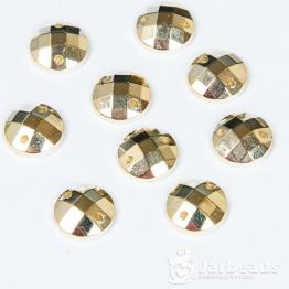 Стразы пришивные круглые 10мм (золото) 50 штук
