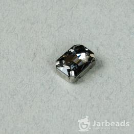 Страза прямоугольная 10*14мм (дымчатое серебро)