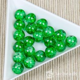Бусины стеклянные кракле 8мм (зеленый) 10штук