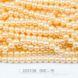 Бусины на нити Жемчуг пластиковый 6мм 140шт (абрикос) арт.00014В