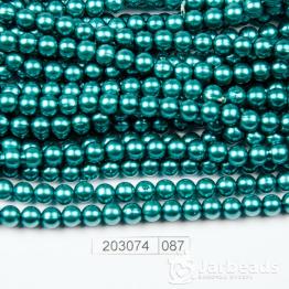 Бусины на нити Жемчуг пластиковый 6мм 140шт (сине-зеленый) арт.087