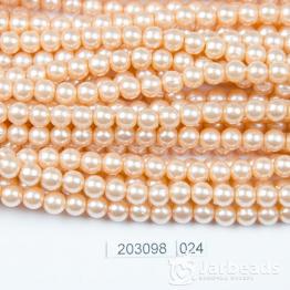 Бусины на нити Жемчуг пластиковый 6мм 140шт (кремовый) арт.024