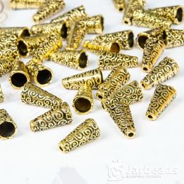 Колпачки литые Конусы с завитками вн.d.7мм (золото) 2шт