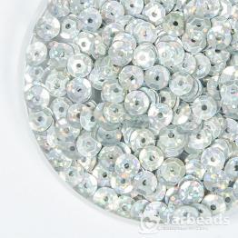 Пайетки круглые галографик с гранями 7мм (серебряный матовый) 10гр
