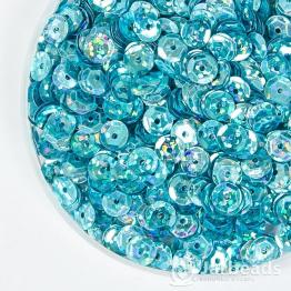 Пайетки круглые галографик с гранями 7мм (голубой) 10гр