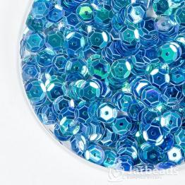 Пайетки круглые полупрозрачные с гранями 7мм (бирюзовый) 10гр