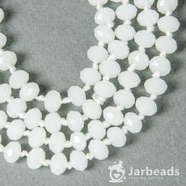 Бусины-кристаллы рондель 6*8мм белый сатин 10штук арт.1588