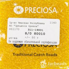 Бисер PRECIOSA 8/0 (50гр) цвет: желтый прозрачный арт.80010