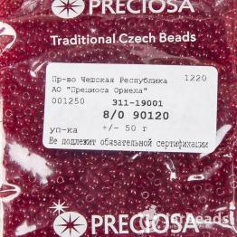 Бисер PRECIOSA 8/0 (50гр) цвет: красный прозрачный арт.90120