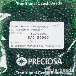 Бисер PRECIOSA 8/0 (50гр) цвет: зеленый темный прозрачный арт.50060
